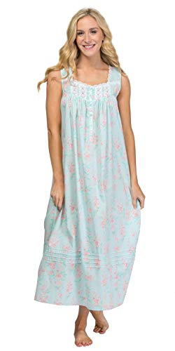 Eileen West Women's Cotton Woven Lawn Ballet Nightgown Light Aqua Floral Small