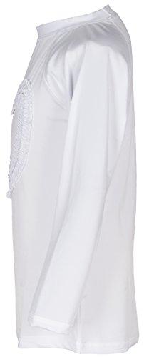 Girls' Ruffled Valentine Solid Rash Guard Swim Shirts UPF 50+ Sun Protective (12, White Long) by Holy Unicorn (Image #3)