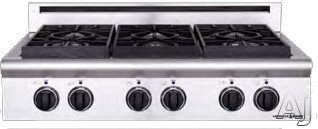 American Range Legend Series 36 Inch Pro-Style Gas Rangetop with 4 Sealed Burners, 11 Inch Griddle, Variable Infinite Flame Settings American Range Legend Series