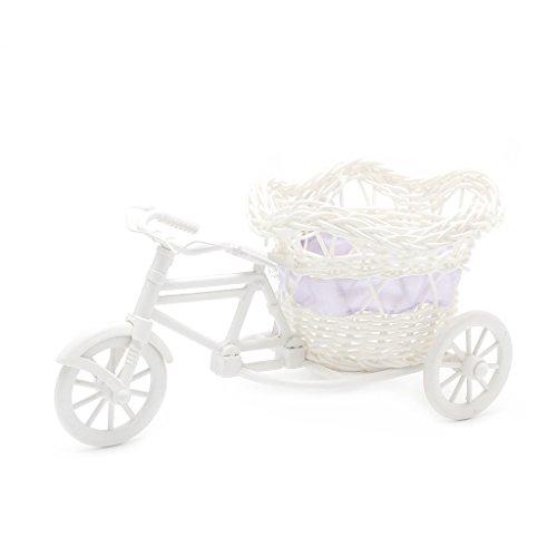 Misright Artificial Rattan Tricycle Bike Flower Basket Vase Storage Wedding Party Decor