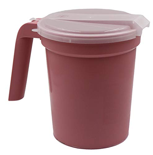 Healthstar Patient Non-Insulated Plastic Pitcher with Straw Port Lid Pink 32oz (3 Pack)