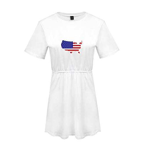 Women's Short Sleeve Dress Plus Size Casual American Flag Printed Pleated Swing Dresses White