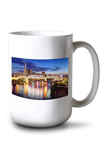 Nashville Tn Framed (Lantern Press Nashville, Tennessee - Colorful City Skyline - Photography A-92416 (15oz White Ceramic Mug))