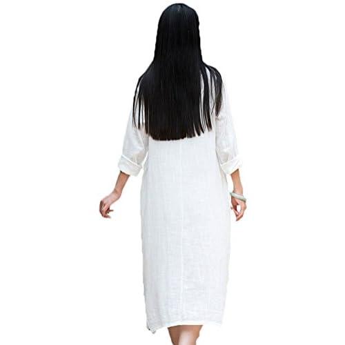 64253fb07d Soojun Women s Essential Cotton Linen Long Sleeve Split Hem Baggy Maxi  Dresses free shipping
