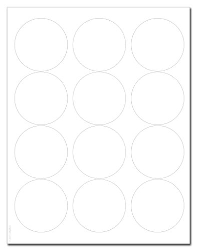 Standard White Matte Circle Labels, 2.5 inch Diameter, with Downloadable Template and Printing Instructions, 10 Sheets, 120 Labels (XC25)