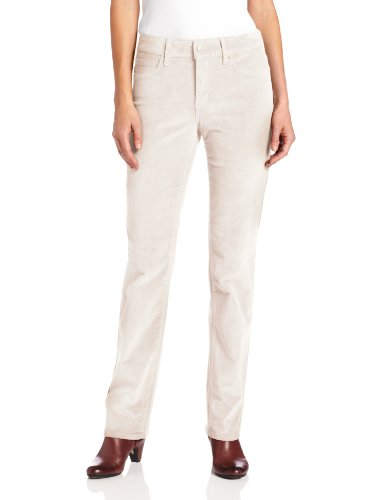 NYDJ Women's Marilyn Straight Corduroy Jeans, Winter White, 12 (Plush Corduroy Pant)