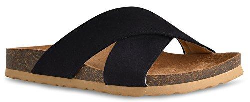 LUSTHAVE Women's Slip on Slide Sandals - Low Cork Bottom - Comfort Platform Flats - Open Toe Black (Womens Criss Cross Sandals)