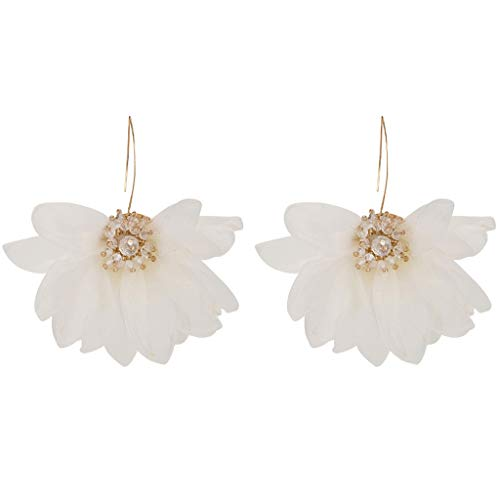 Earrings Drop Crystal Flower (Large Lace Flower Hook Earrings Crystal Core Drop Earrings for Girl Lady Women Dress (White))