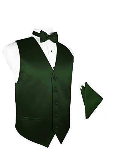 (Hunter Satin Tuxedo Vest with Bowtie & Pocket Square Set)