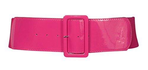eVogues Women's Wide Patent Leather Fashion Belt Pink - One Size (Pnk Pink Leather)