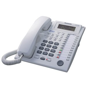 Panasonic 24-Button Proprietary Telephone with LCD and Talking Caller ID, White
