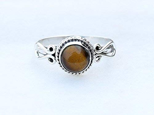 Sterling Silver For Girls Women Stone Gemstone Christmas Gifts Jewelry Tiger Eye Rings Size 8