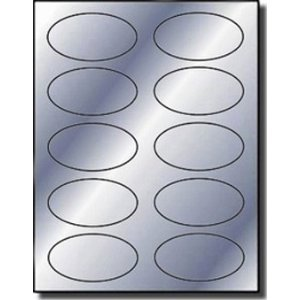 200 Label Outfitters Silver Foil Oval Labels, 3-1/4