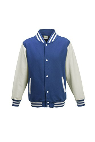 AWDis Hoods Big Boys' Varsity Letterman Jacket Royal Blue / White 9 to 11 Years (Leather Jacket Boys 8 20)