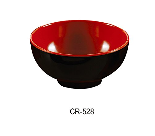 Yanco CR-528 Black and Red Two-Tone Soup Bowl, 22 oz Capacity, 3.25