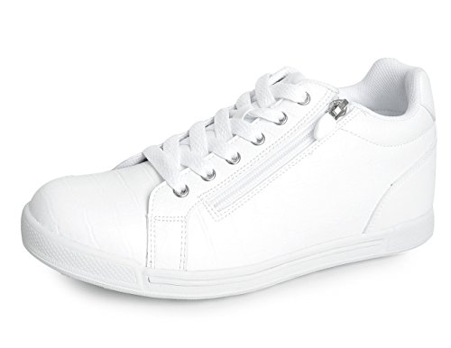 Mnx15 Hommes Ascenseur Chaussures Hauteur Augmentation 2.4 Luna Blanc Wedge Espadrilles À Talons Hauts Sneakers Blanc