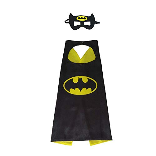 Edition Superhero Capes & Mask for Kids | Character Costume for Birthday, Party Supplies (Batman) Black -