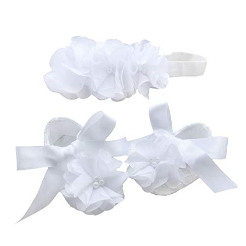 Bow Dream Baby Girl's Baptism Christening Shoes and Headband Set White Flowers 0-3 Months