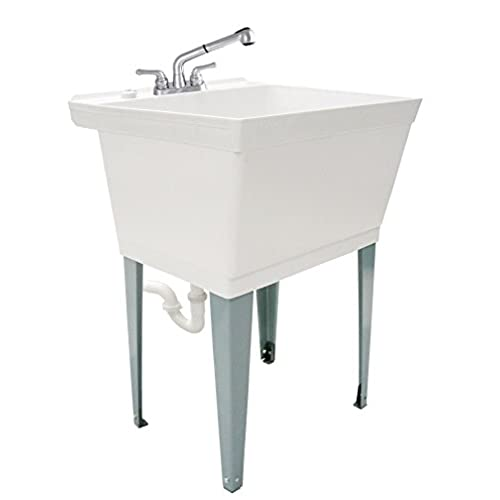 LDR 040 6000 Complete 19 Gallon Laundry Utility Tub With Pull Out Faucet