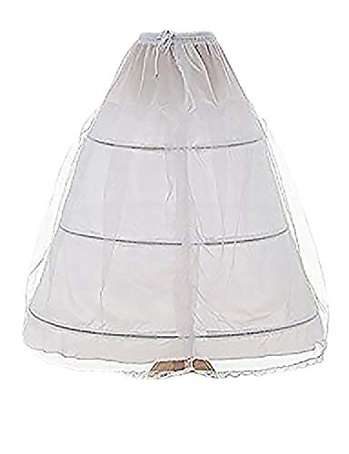 OYISHA Women's 3 Hoops Floor Length Wedding Petticoat for Prom Quinceanera Dress PE08 White]()