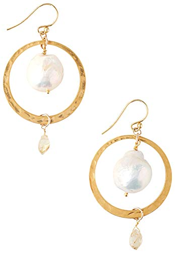 (Chan Luu White Freshwater Cultured Pearl Gold Plated Circle Hoop Drop Earrings)