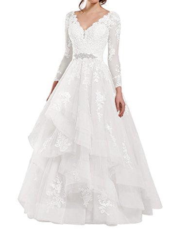Kevins Bridal Double V-Neck Lace Wedding Dress Long Sleeves Ruffle Bridal Gowns
