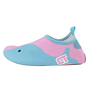 SENFI Boys Girls Water Shoes Mutifunctional Barefoot Quick Dry Aqua Shoes For Beach Pool Eercise (Toddler/Little Kid/Big Kid),NS02,Pink,24.25