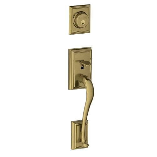 Schlage F58 ADD 609 Addison Exterior Handleset with Deadbolt, Antique Brass (Exterior Half Only)