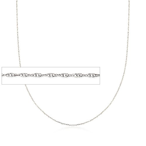 Ross-Simons .7mm 14kt White Gold Rope Chain Necklace (Necklace Gold 14kt Rope)