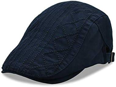 野球帽 キャスケット メンズ 鳥打帽 ゴルフ コットン 日よけ 防風 調整可能 純色 ハンチング LWQJP (Color : ブラック, Size : M)