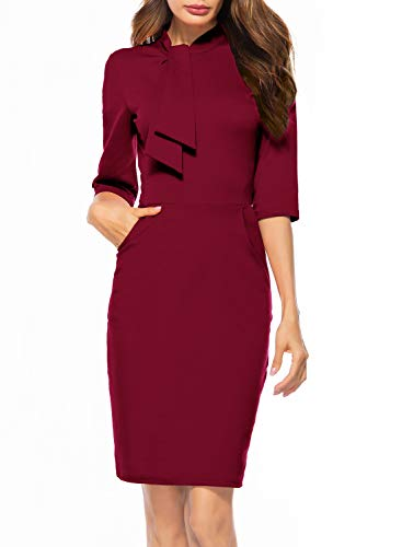 (Berydress Women's Vintage Chic 50s Tie Neck 3/4 Sleeve Sheath Bodycon Cocktail Party Pencil Dress with Pockets (XL,)