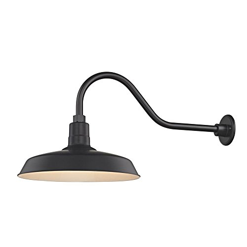 Black Gooseneck Barn Light with 16 Shade