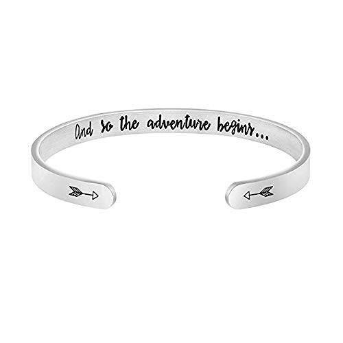 Personalized Mens Bracelets - Y&M Inspirational Cuff Open Bracelet Bangle Stainless Steel Personalized Engraved Gifts for Women (and so.)