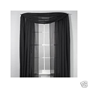 set of 2 84 long black sheer voile curtains