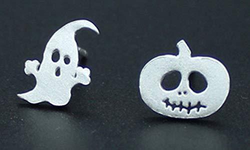(SAYLAVE Halloween Womens Earring Stud Bat Pumpkin Ghost Stud Silver)