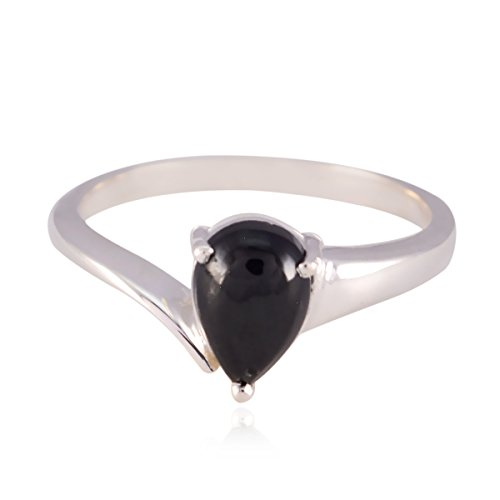 RGPL-Lovely Gemstones Pear cabochon Black Onyx Rings - Sterling Silver Black Black Onyx Lovely Gemstones Ring - Supply Jewelry fine Selling Items Gift for Mother's Day Name Ring
