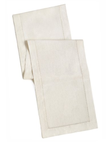 100% Linen Hemstitch Table Runner - Size 16x72 Ivory - Hand Crafted and Hand Stitched Table Runner with Hemstitch detailing. The pure Linen fabric works well in both casual and formal settings