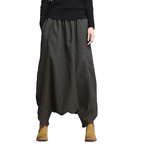 iYBUIA 2018 Cotton Linen Loose Fashion Women's Harem Pants Yoga Festival Baggy Boho Trousers Retro Gypsy Pants(Gray,L) ()