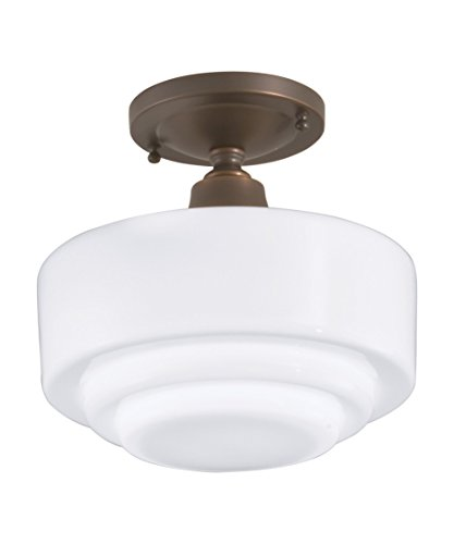 Norwell 5361F-PN-SO Schoolhouse 1 Light Flush Mount in Polish Nickel with Shiny Opal glass