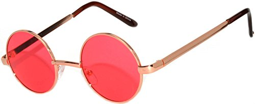 Round Retro Vintage Circle Style Tint Sunglasses Metal Colored Frame Colored Lens OWL Brand (Round_43mm_gld_red_grd, PC - Colored Frame Sunglasses