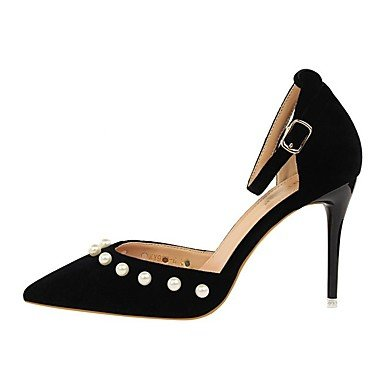 US6 UK4 Confort FYios HeelBeading Sandalias Suede noche Zapatos Otoño boda mujer amp;Amp; Verano CN36 vestido de Invierno EU36 perla Primavera imitación Stiletto Club p1qpw8
