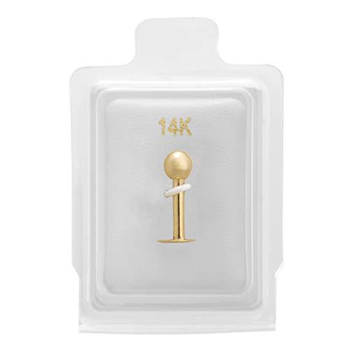 Lavari - 14K Solid Yellow Gold Labret Monroe Style Ball Lip Ring Stud
