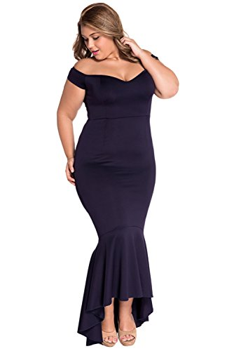 Ouregrace Womens Fishtail Long Evening Dress Off Shoulder Party Dress Navy Blue