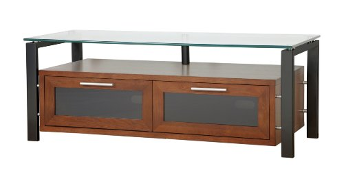Plateau DECOR 50 WB Wood and Glass TV Stand, 50-Inch, Walnut Finish -
