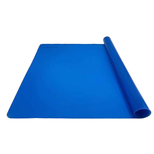 Silicone Baking Mat for Dough Rolling Pastry Fondant Mat Large Nonstick and Nonskid Heat Resistent, Countertop Protector, Dining Table Mat and Placemat 20'' by 16''(Without Measurements, Blue)