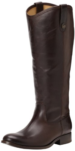 FRYE Women's Melissa Button Boot, Dark Brown Wide Calf Smooth Vintage Leather, 7 M US by FRYE