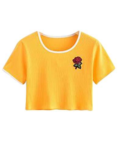 Women Teen Girls Rose Print Tie Up Crop Top Belly Shirt Tees T-Shirt Blouse Top Sale (Yellow, M) by SZT (Image #1)