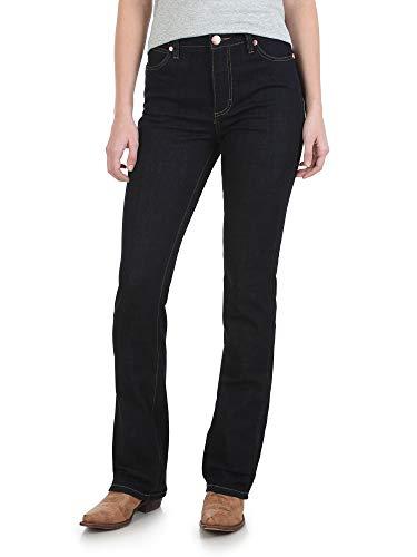 (Wrangler Women's Premium High-Waist Stacked Bootcut Jean, Dark Wash 29W x 34L)