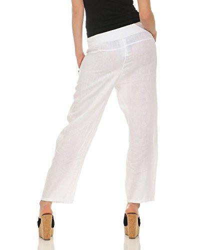 M estivi a L tinta ZARMEXX XL XXL Bianco lino pantaloni di pantaloni donna unita da pantaloni wx7P8qxTY