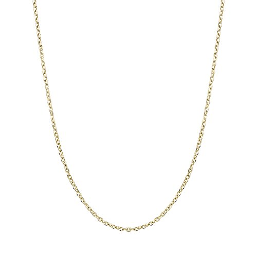 14K Yellow Gold Cable Style Chain Necklace Diamond Cut 1.4mm 16 inches by Peora